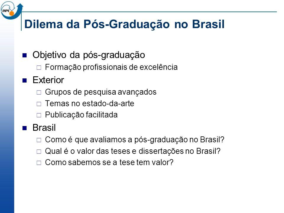 Dilema da Pós-Graduação no Brasil Objetivo da pós-graduação Formação profissionais de excelência Exterior Grupos de pesquisa avançados Temas no estado-da-arte Publicação facilitada Brasil Como é que avaliamos a pós-graduação no Brasil.