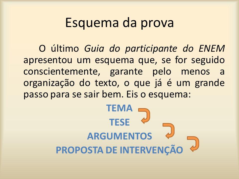 Esquema da prova Como a proposta de redação do ENEM é sempre uma dissertação-argumentativa e como o espaço destinado para desenvolvê-la é sempre o de 30 linhas (no máximo), então pode-se pensar numa divisão paragrafal mais ou menos assim: TEMA-TESE (introdução – 1§) ARGUMENTOS (desenvolvimento – 2 a 4§) PROPOSTA DE INTERVENÇÃO (conclusão – 1§)