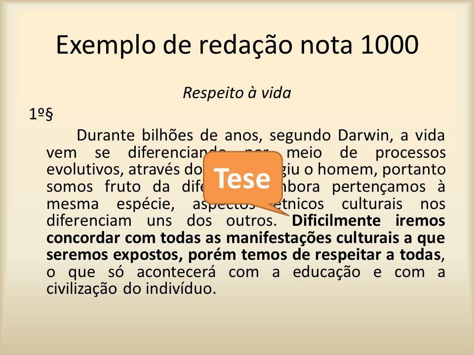 Exemplo de redação nota 1000 2º§ Para compreendermos um determinado povo ou costume e necessário entendê-lo.