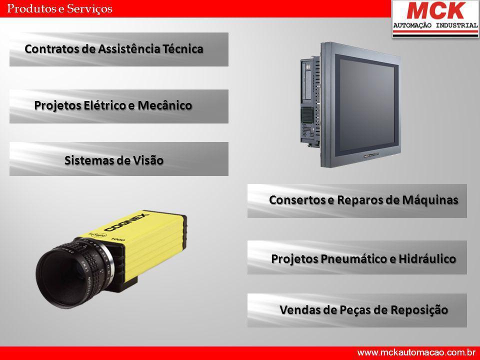 www.mckautomacao.com.br Produtos e Serviços Contratos de Assistência Técnica Projetos Elétrico e Mecânico Sistemas de Visão Consertos e Reparos de Máq