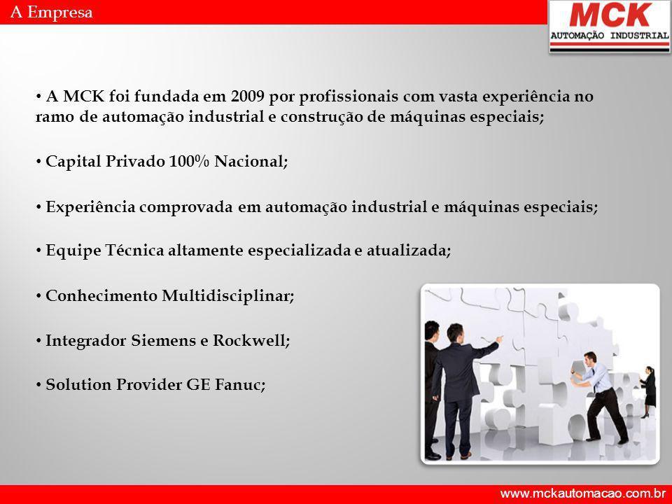 www.mckautomacao.com.br A Empresa MISSÃO Prover soluções tecnológicas inovadoras aos seus Clientes, visando obtenção de patamares elevados de competitividade e lucratividade.