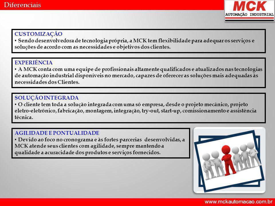 www.mckautomacao.com.br Diferenciais CUSTOMIZAÇÃO Sendo desenvolvedora de tecnologia própria, a MCK tem flexibilidade para adequar os serviços e soluç