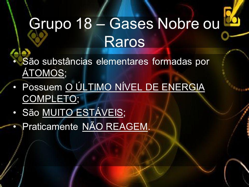 Grupo 18 – Gases Nobre ou Raros São substâncias elementares formadas por ÁTOMOS; Possuem O ÚLTIMO NÍVEL DE ENERGIA COMPLETO; São MUITO ESTÁVEIS; Prati