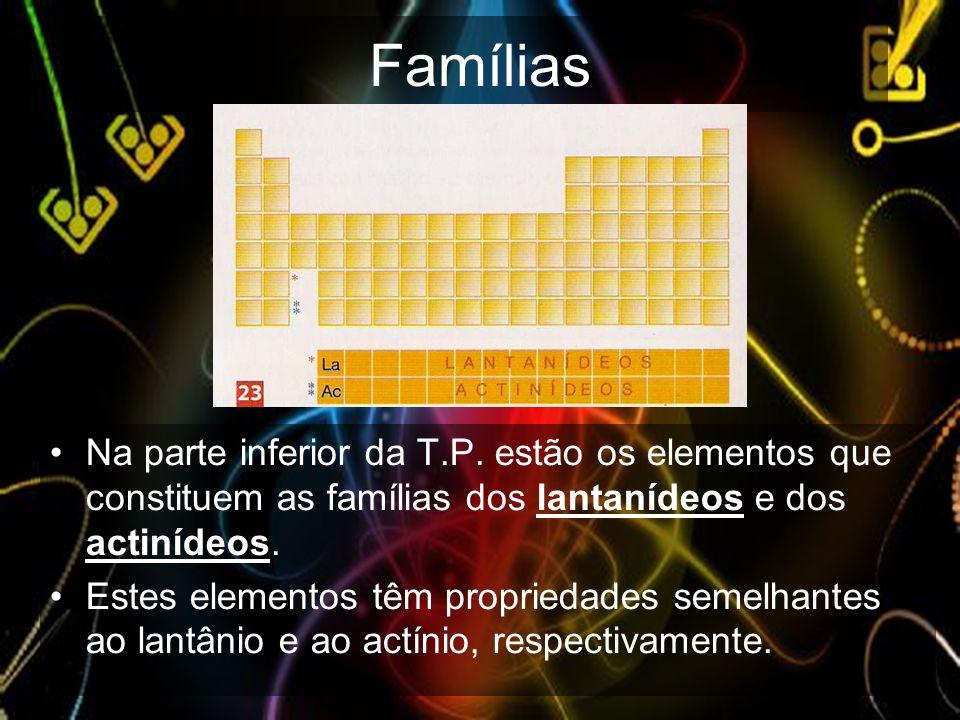 Famílias Na parte inferior da T.P. estão os elementos que constituem as famílias dos lantanídeos e dos actinídeos. Estes elementos têm propriedades se