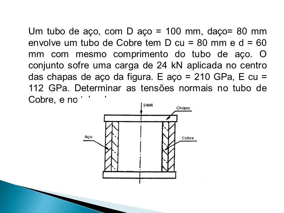 Um tubo de aço, com D aço = 100 mm, daço= 80 mm envolve um tubo de Cobre tem D cu = 80 mm e d = 60 mm com mesmo comprimento do tubo de aço. O conjunto