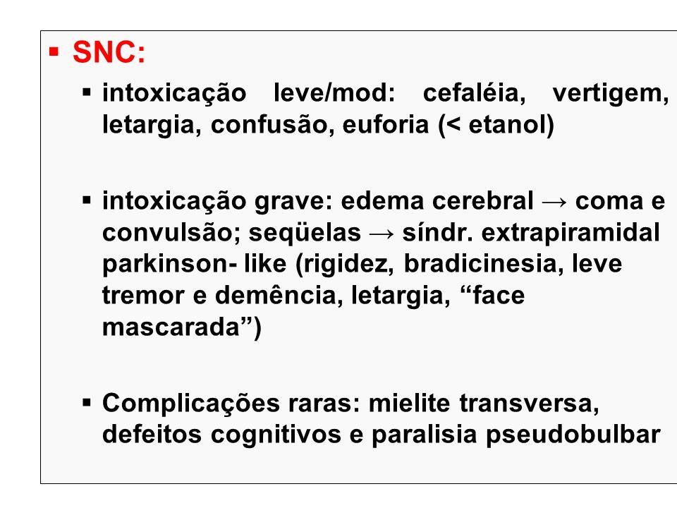 SNC: intoxicação leve/mod: cefaléia, vertigem, letargia, confusão, euforia (< etanol) intoxicação grave: edema cerebral coma e convulsão; seqüelas sín