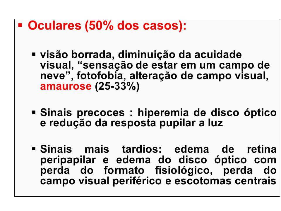 Oculares (50% dos casos): visão borrada, diminuição da acuidade visual, sensação de estar em um campo de neve, fotofobia, alteração de campo visual, a