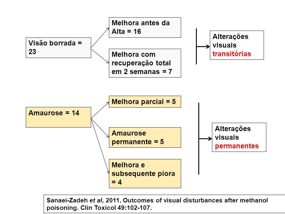Visão borrada = 23 Amaurose = 14 Melhora antes da Alta = 16 Melhora com recuperação total em 2 semanas = 7 Melhora parcial = 5 Amaurose permanente = 5