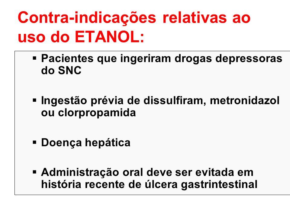 Contra-indicações relativas ao uso do ETANOL: Pacientes que ingeriram drogas depressoras do SNC Ingestão prévia de dissulfiram, metronidazol ou clorpr
