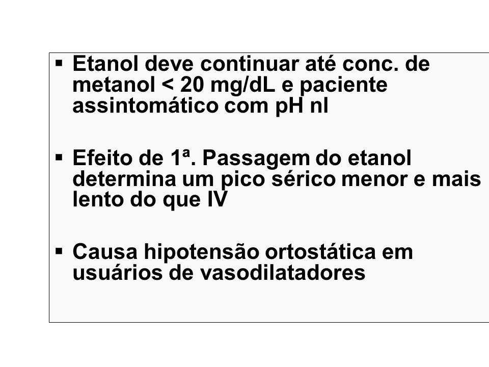 Etanol deve continuar até conc. de metanol < 20 mg/dL e paciente assintomático com pH nl Efeito de 1ª. Passagem do etanol determina um pico sérico men