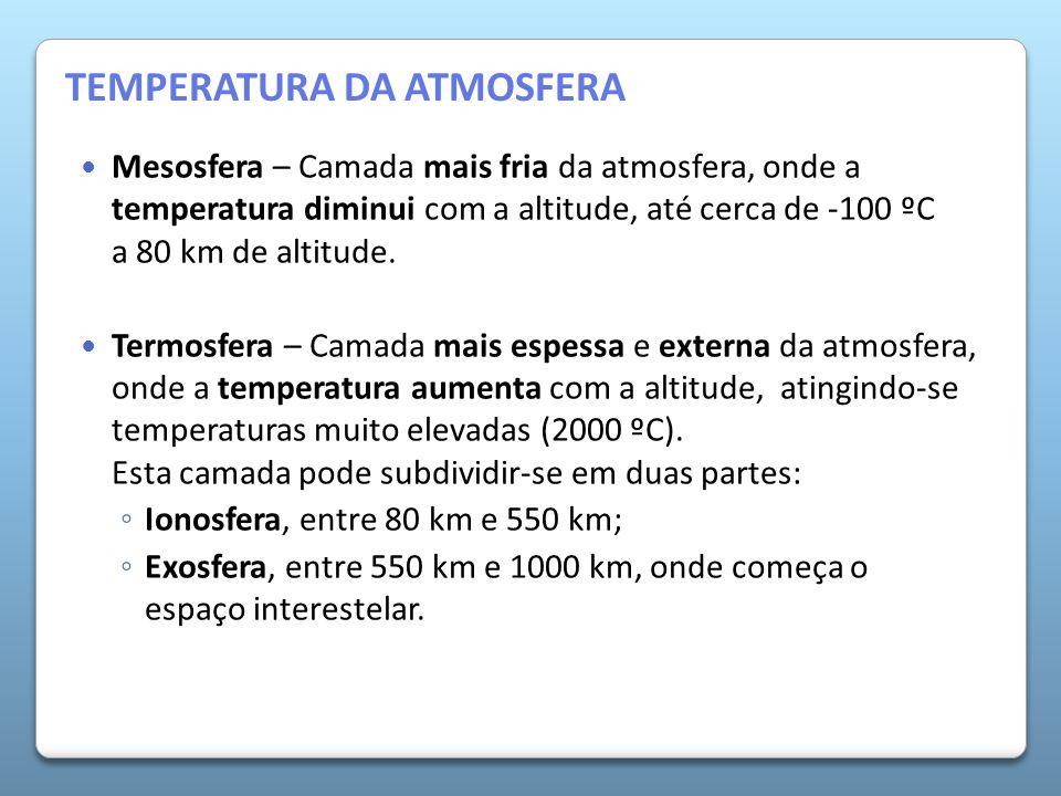 A Atmosfera da Terra Mesosfera – Camada mais fria da atmosfera, onde a temperatura diminui com a altitude, até cerca de -100 ºC a 80 km de altitude. T
