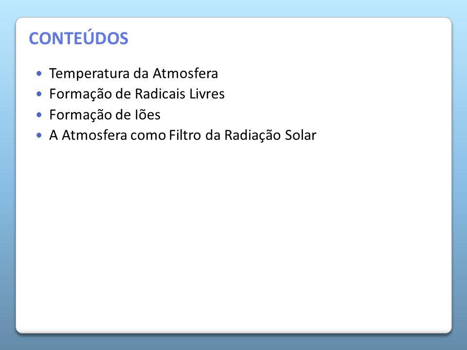 A Atmosfera da Terra Temperatura da Atmosfera Formação de Radicais Livres Formação de Iões A Atmosfera como Filtro da Radiação Solar CONTEÚDOS