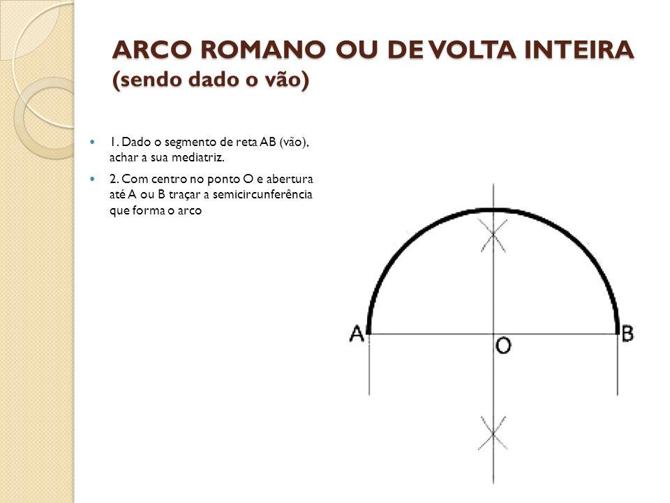 ARCO ROMANO OU DE VOLTA INTEIRA (sendo dado o vão) 1. Dado o segmento de reta AB (vão), achar a sua mediatriz. 2. Com centro no ponto O e abertura até