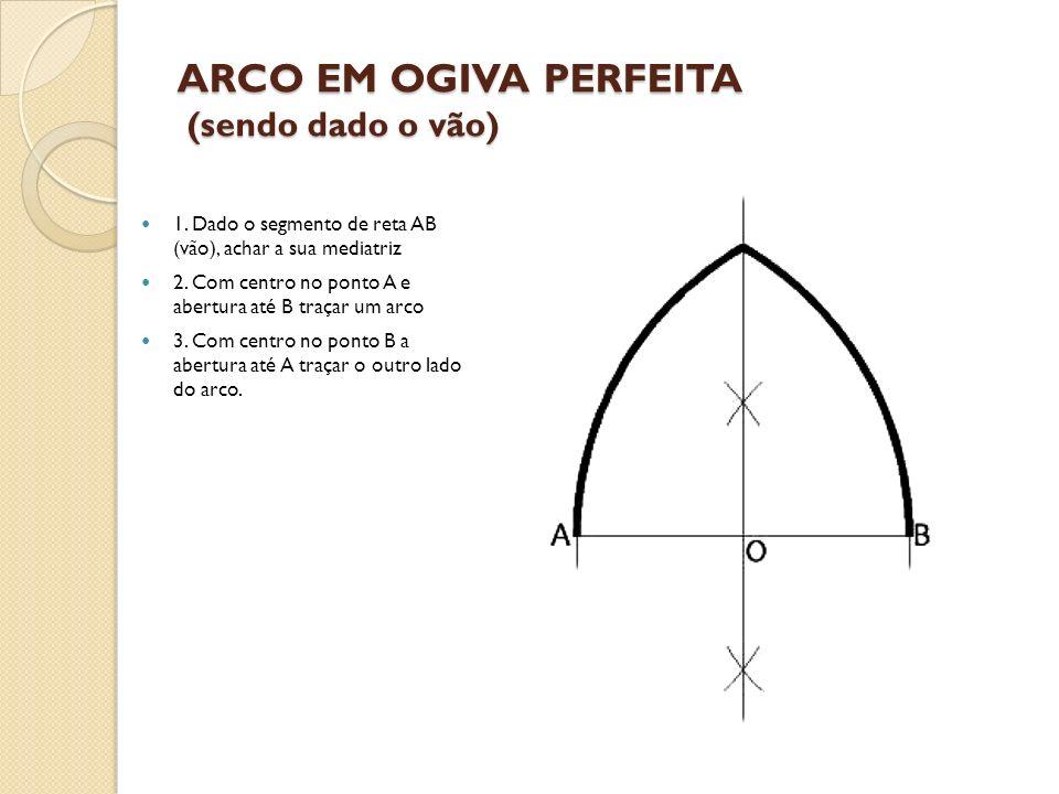 ARCO EM OGIVA PERFEITA (sendo dado o vão) 1. Dado o segmento de reta AB (vão), achar a sua mediatriz 2. Com centro no ponto A e abertura até B traçar