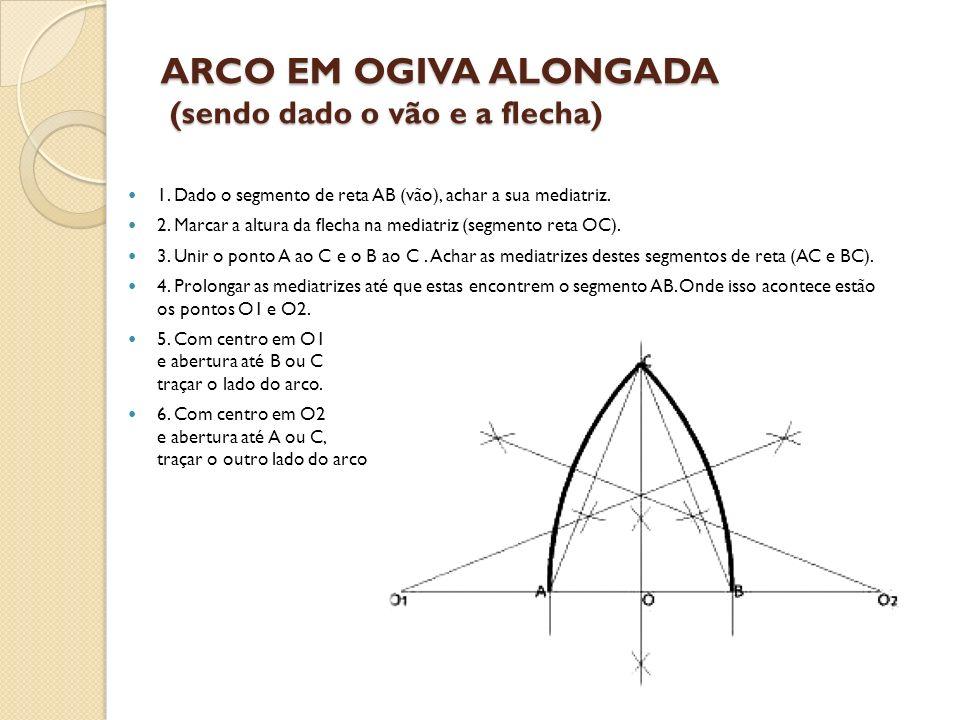ARCO EM OGIVA ALONGADA (sendo dado o vão e a flecha) 1. Dado o segmento de reta AB (vão), achar a sua mediatriz. 2. Marcar a altura da flecha na media