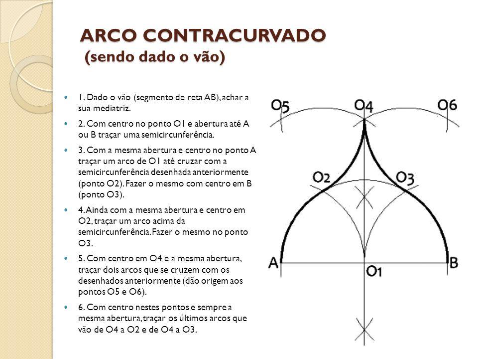 ARCO CONTRACURVADO (sendo dado o vão) 1. Dado o vão (segmento de reta AB), achar a sua mediatriz. 2. Com centro no ponto O1 e abertura até A ou B traç