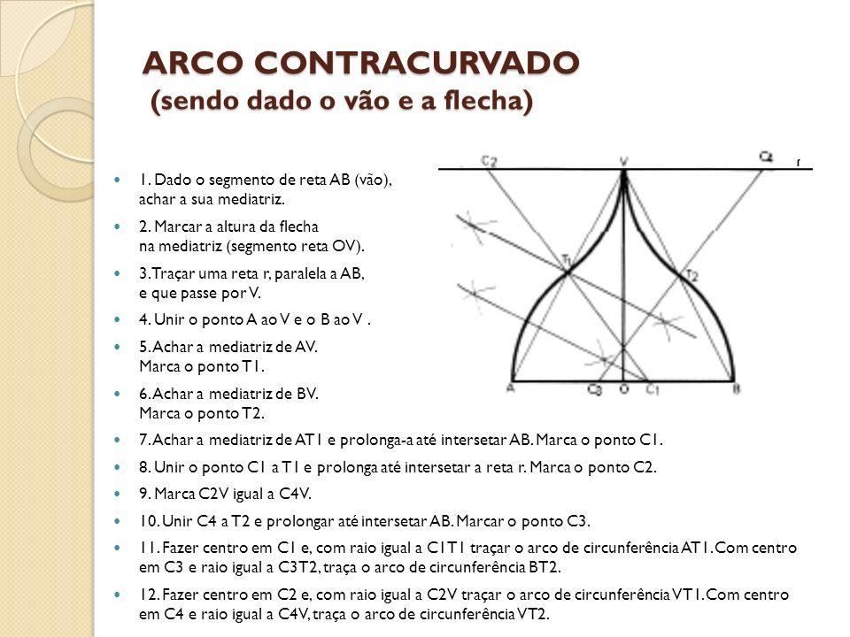 ARCO CONTRACURVADO (sendo dado o vão e a flecha) 1. Dado o segmento de reta AB (vão), achar a sua mediatriz. 2. Marcar a altura da flecha na mediatriz