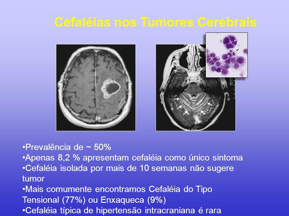 Cefaléias nos Tumores Cerebrais Prevalência de ~ 50% Apenas 8,2 % apresentam cefaléia como único sintoma Cefaléia isolada por mais de 10 semanas não s
