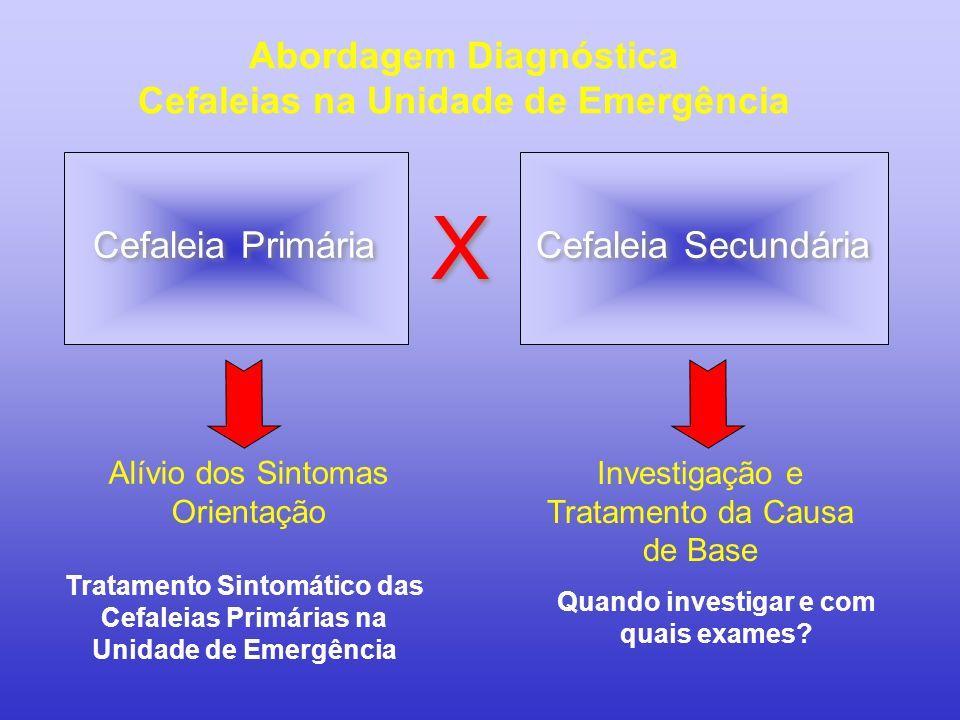 Abordagem Diagnóstica Cefaleias na Unidade de Emergência Cefaleia Primária Cefaleia Secundária X X Alívio dos Sintomas Orientação Investigação e Trata