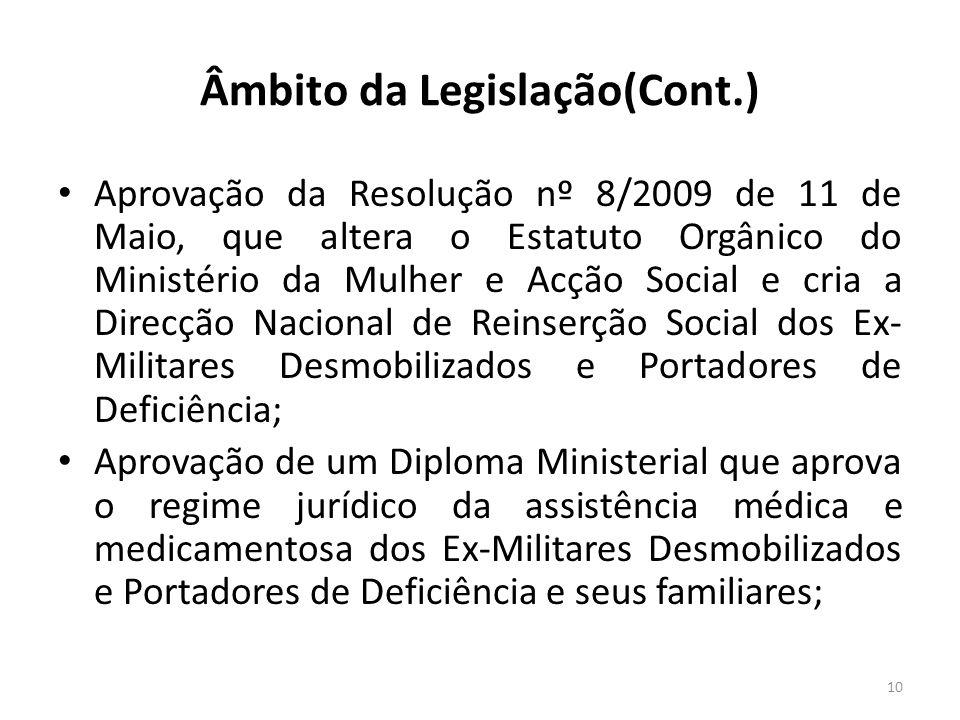 Âmbito da Legislação(Cont.) Aprovação da Resolução nº 8/2009 de 11 de Maio, que altera o Estatuto Orgânico do Ministério da Mulher e Acção Social e cr