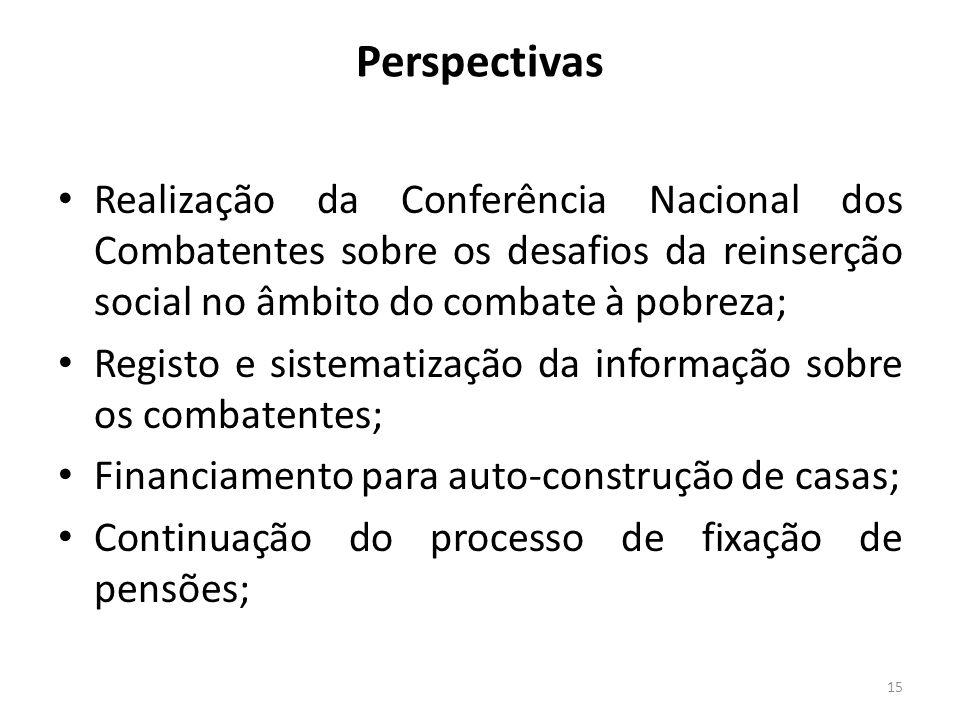 Perspectivas Realização da Conferência Nacional dos Combatentes sobre os desafios da reinserção social no âmbito do combate à pobreza; Registo e siste