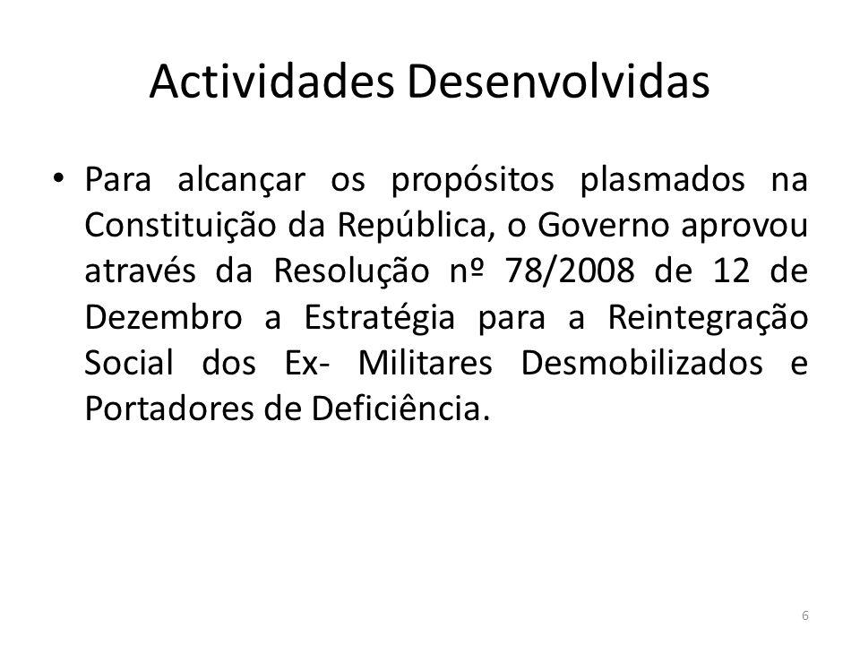 Actividades Desenvolvidas Para alcançar os propósitos plasmados na Constituição da República, o Governo aprovou através da Resolução nº 78/2008 de 12