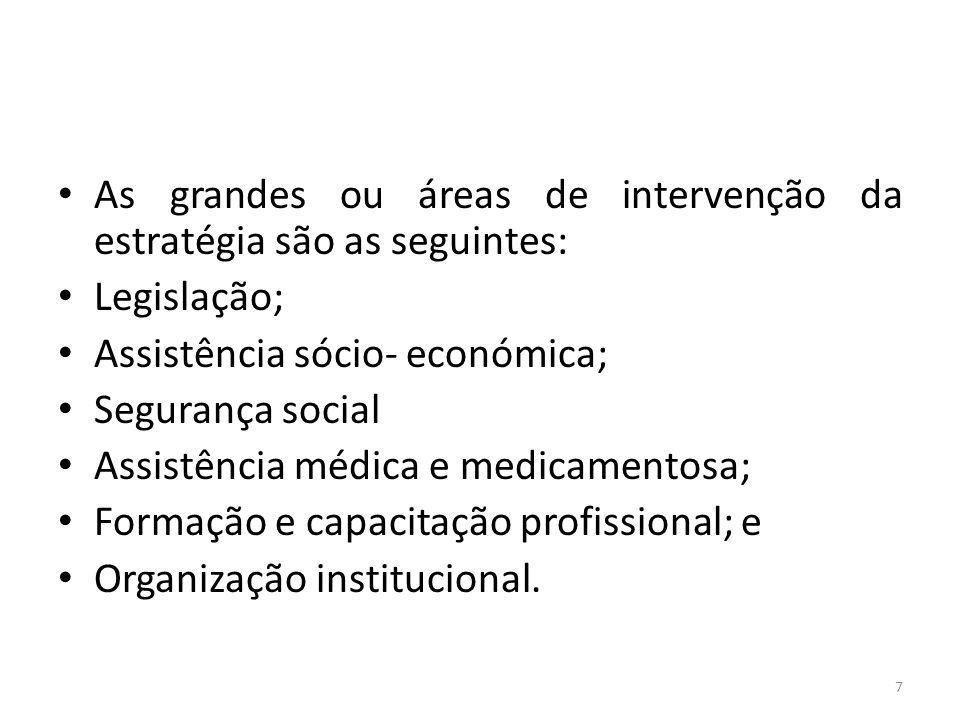 As grandes ou áreas de intervenção da estratégia são as seguintes: Legislação; Assistência sócio- económica; Segurança social Assistência médica e med