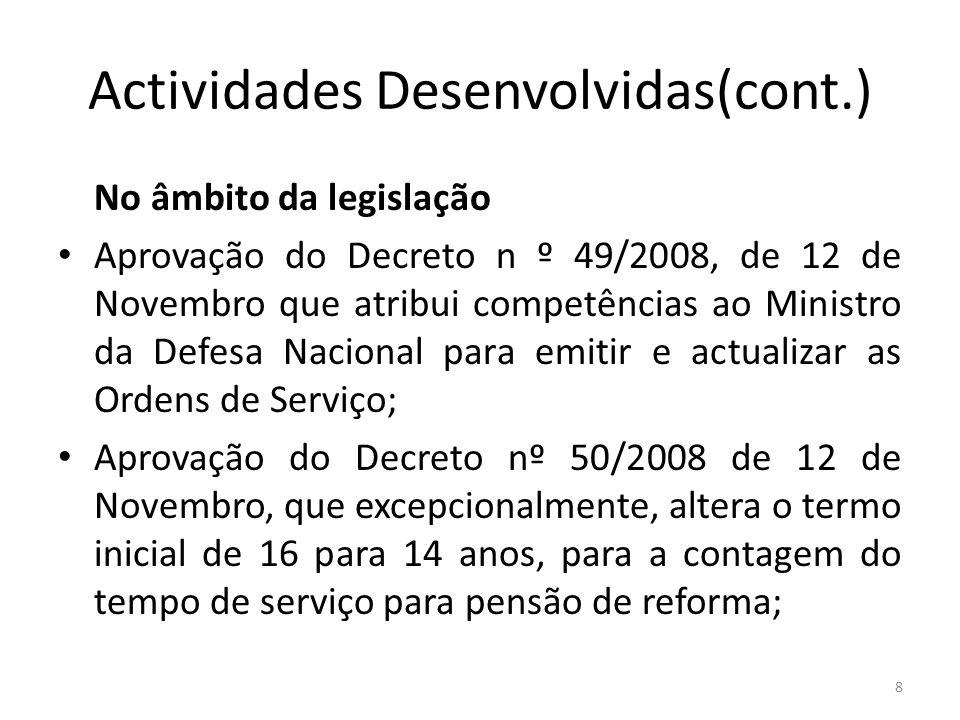 Actividades Desenvolvidas(cont.) No âmbito da legislação Aprovação do Decreto n º 49/2008, de 12 de Novembro que atribui competências ao Ministro da D