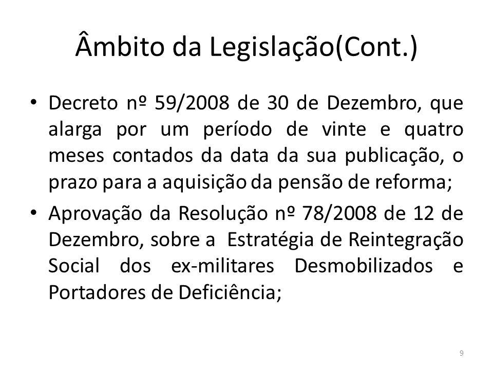 Âmbito da Legislação(Cont.) Decreto nº 59/2008 de 30 de Dezembro, que alarga por um período de vinte e quatro meses contados da data da sua publicação