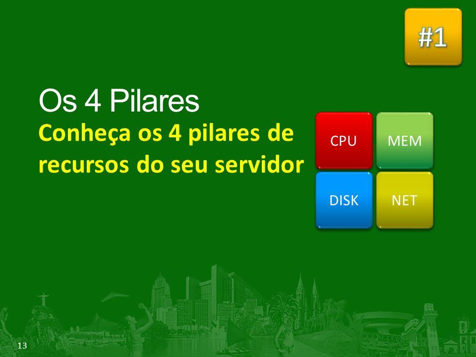 13 Conheça os 4 pilares de recursos do seu servidor DISK MEM NET CPU