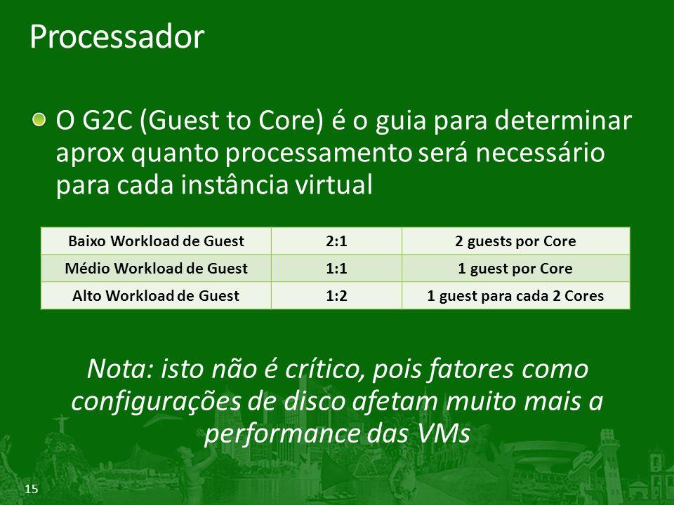 15 Processador O G2C (Guest to Core) é o guia para determinar aprox quanto processamento será necessário para cada instância virtual Nota: isto não é crítico, pois fatores como configurações de disco afetam muito mais a performance das VMs Baixo Workload de Guest2:12 guests por Core Médio Workload de Guest1:11 guest por Core Alto Workload de Guest1:21 guest para cada 2 Cores