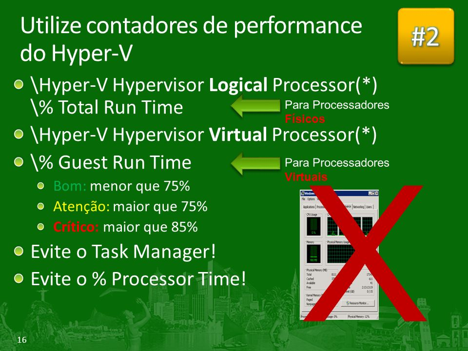 16 Utilize contadores de performance do Hyper-V \Hyper-V Hypervisor Logical Processor(*) \% Total Run Time \Hyper-V Hypervisor Virtual Processor(*) \%