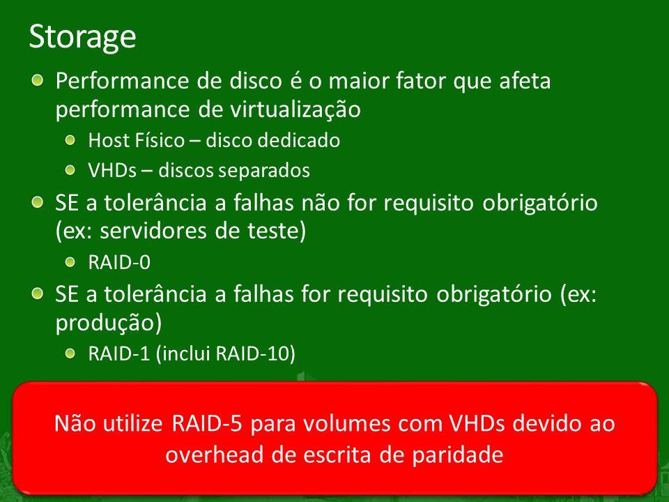 29 Storage Performance de disco é o maior fator que afeta performance de virtualização Host Físico – disco dedicado VHDs – discos separados SE a tolerância a falhas não for requisito obrigatório (ex: servidores de teste) RAID-0 SE a tolerância a falhas for requisito obrigatório (ex: produção) RAID-1 (inclui RAID-10) Não utilize RAID-5 para volumes com VHDs devido ao overhead de escrita de paridade
