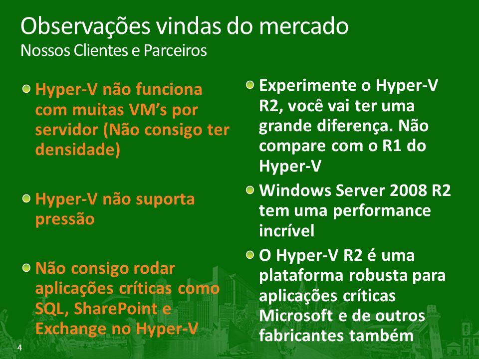 4 Observações vindas do mercado Nossos Clientes e Parceiros Hyper-V não funciona com muitas VMs por servidor (Não consigo ter densidade) Hyper-V não suporta pressão Não consigo rodar aplicações críticas como SQL, SharePoint e Exchange no Hyper-V Experimente o Hyper-V R2, você vai ter uma grande diferença.