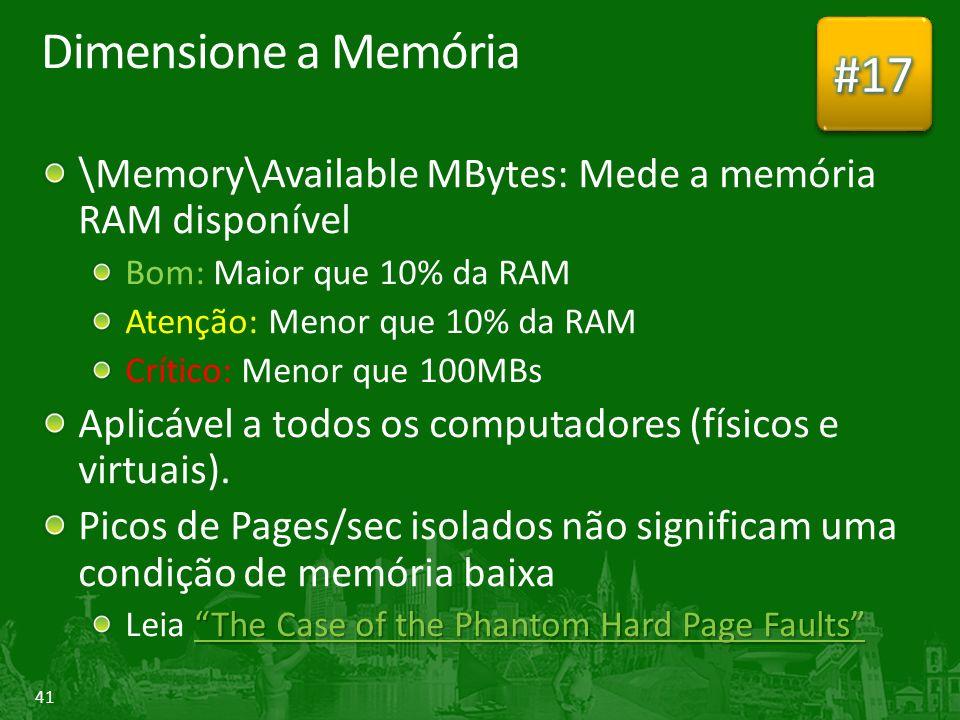 41 Dimensione a Memória \Memory\Available MBytes: Mede a memória RAM disponível Bom: Maior que 10% da RAM Atenção: Menor que 10% da RAM Crítico: Menor que 100MBs Aplicável a todos os computadores (físicos e virtuais).