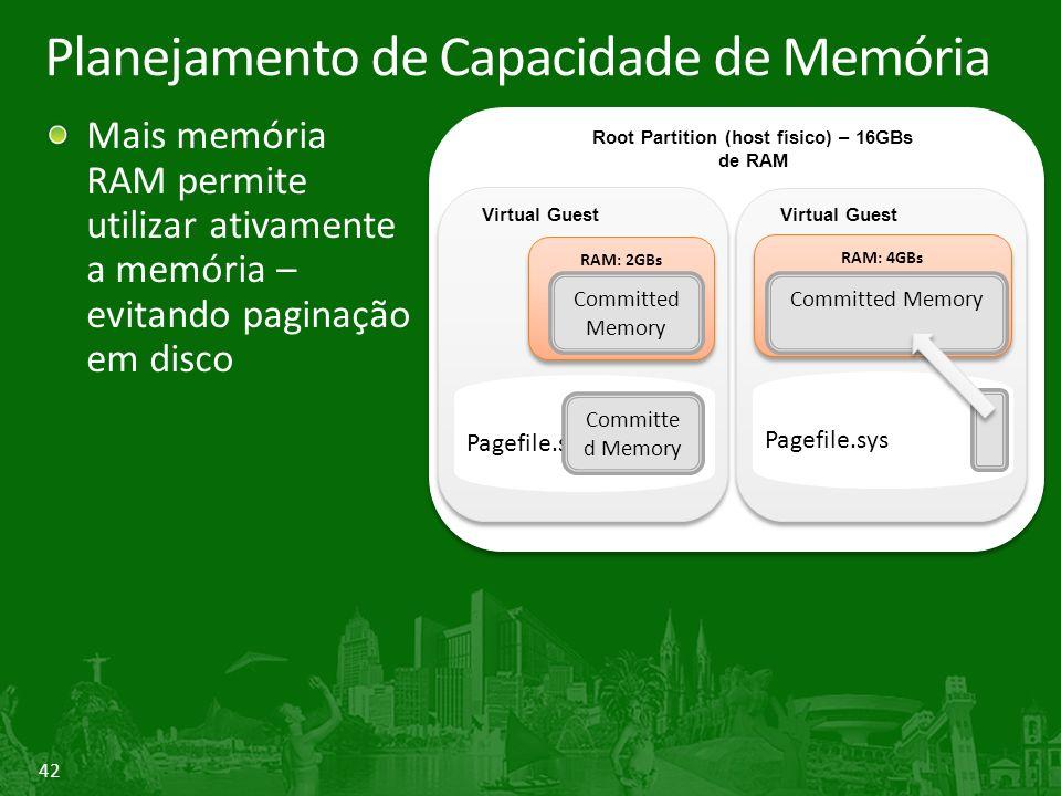 42 Planejamento de Capacidade de Memória Mais memória RAM permite utilizar ativamente a memória – evitando paginação em disco Root Partition (physical host) Root Partition (host físico) – 16GBs de RAM Virtual Guest RAM: 2GBs Committed Memory Pagefile.sys Committe d Memory Virtual Guest RAM: 4GBs Committed Memory Pagefile.sys
