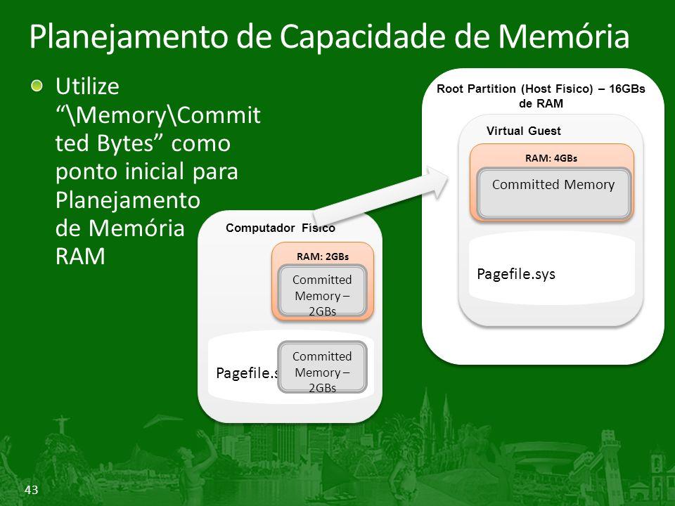 43 Planejamento de Capacidade de Memória Utilize \Memory\Commit ted Bytes como ponto inicial para Planejamento de Memória RAM Root Partition (physical host) Root Partition (Host Físico) – 16GBs de RAM Computador Físico RAM: 2GBs Committed Memory – 2GBs Pagefile.sys Committed Memory – 2GBs Virtual Guest RAM: 4GBs Committed Memory Pagefile.sys
