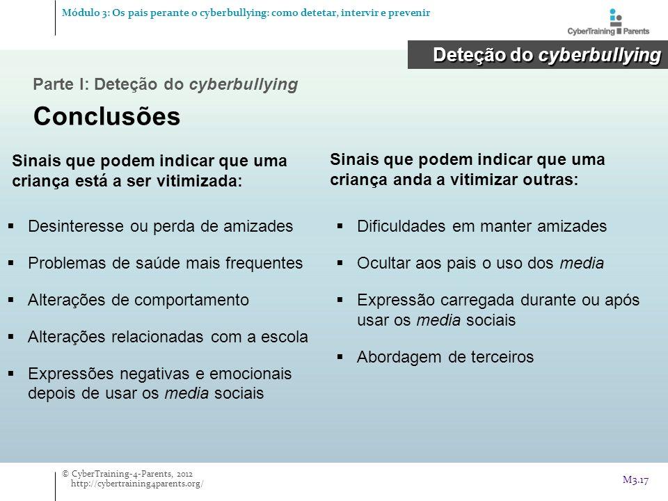 Parte I: Deteção do cyberbullying Conclusões Deteção do cyberbullying Deteção do cyberbullying Sinais que podem indicar que uma criança está a ser vit