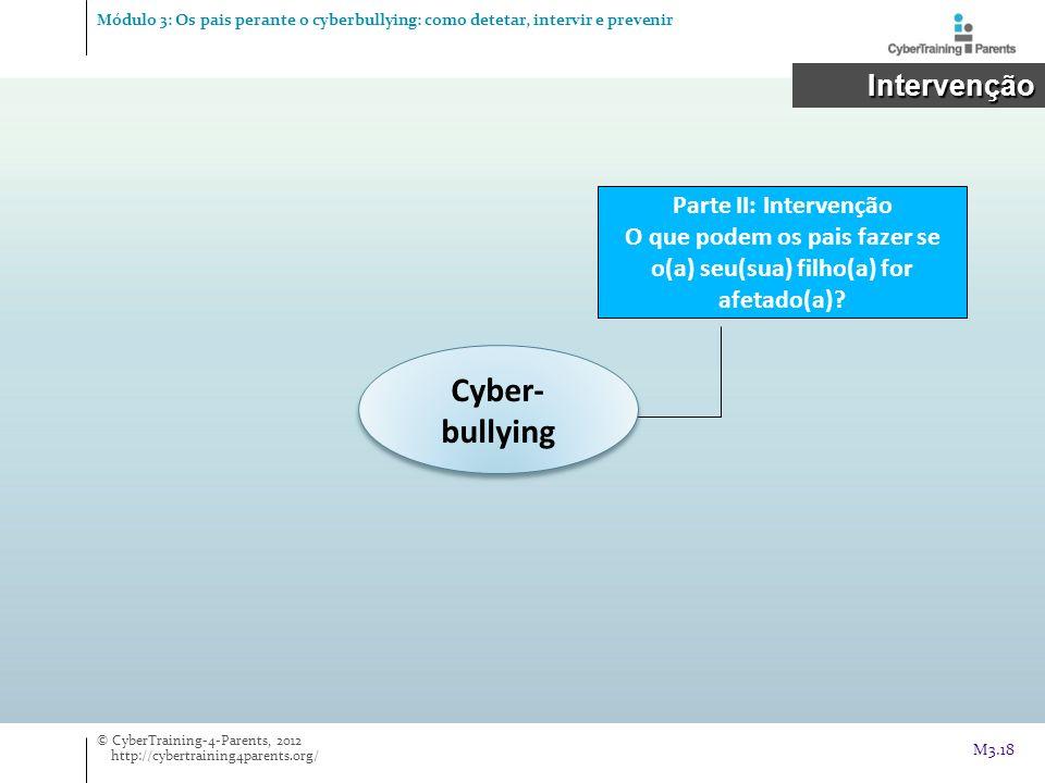 Cyber- bullying Parte II: Intervenção O que podem os pais fazer se o(a) seu(sua) filho(a) for afetado(a)? Intervenção Intervenção © CyberTraining-4-Pa