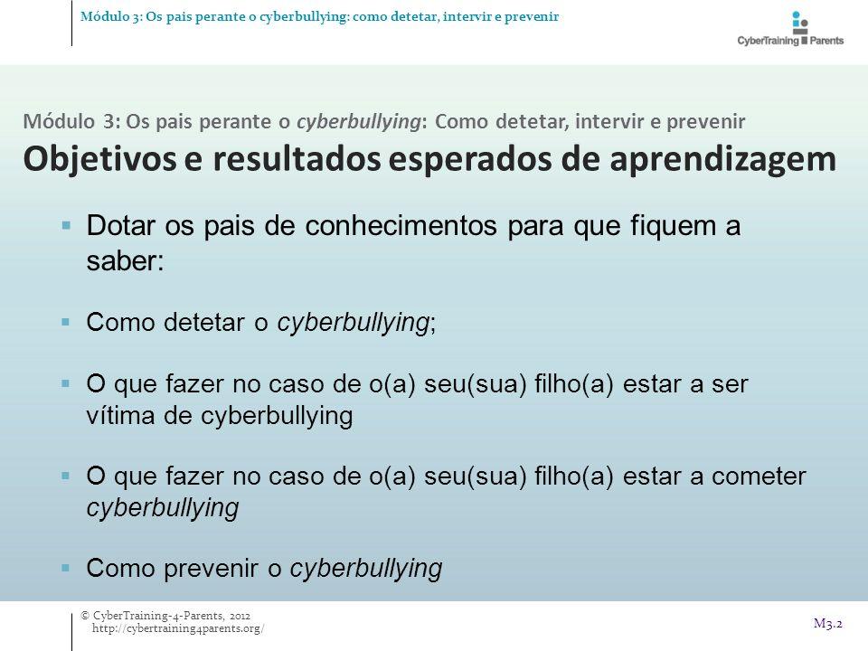 M3.2 Dotar os pais de conhecimentos para que fiquem a saber: Como detetar o cyberbullying; O que fazer no caso de o(a) seu(sua) filho(a) estar a ser v