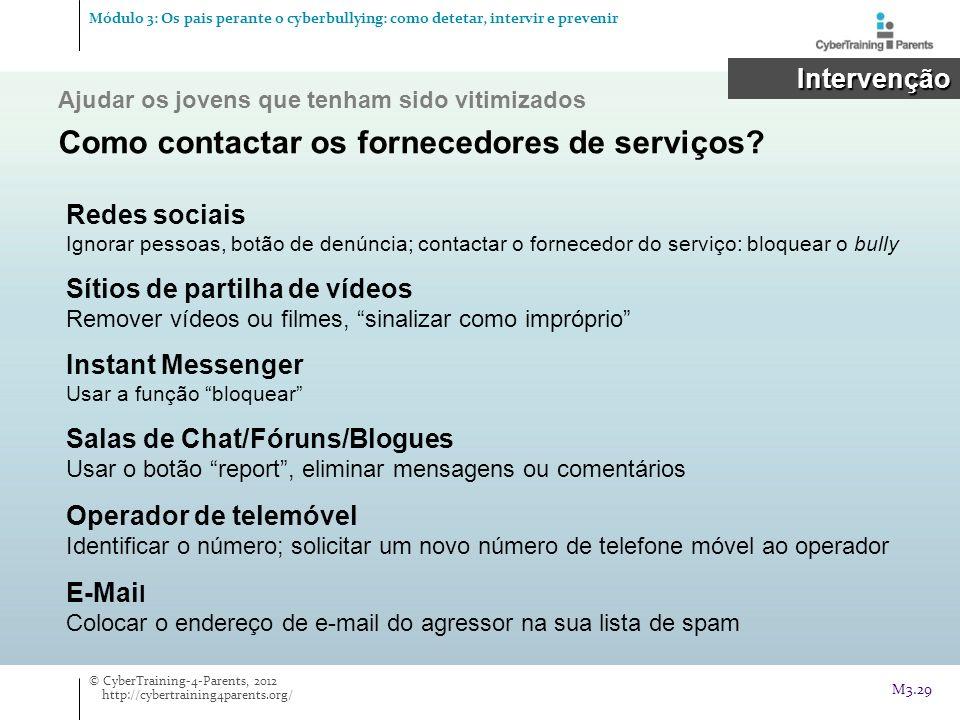 Ajudar os jovens que tenham sido vitimizados Como contactar os fornecedores de serviços? Intervenção Intervenção Redes sociais Ignorar pessoas, botão