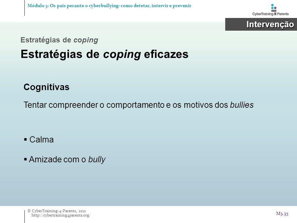 Intervenção Intervenção Cognitivas Tentar compreender o comportamento e os motivos dos bullies Calma Amizade com o bully © CyberTraining-4-Parents, 20