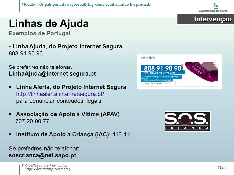 Linhas de Ajuda Exemplos de Portugal Intervenção Intervenção - Linha Ajuda, do Projeto Internet Segura : 808 91 90 90 Se preferires não telefonar : Li