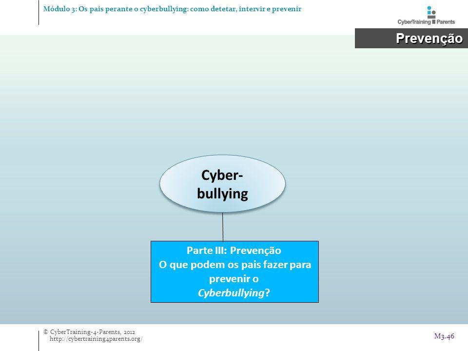 Cyber- bullying Parte III: Prevenção O que podem os pais fazer para prevenir o Cyberbullying? Prevenção Prevenção © CyberTraining-4-Parents, 2012 http