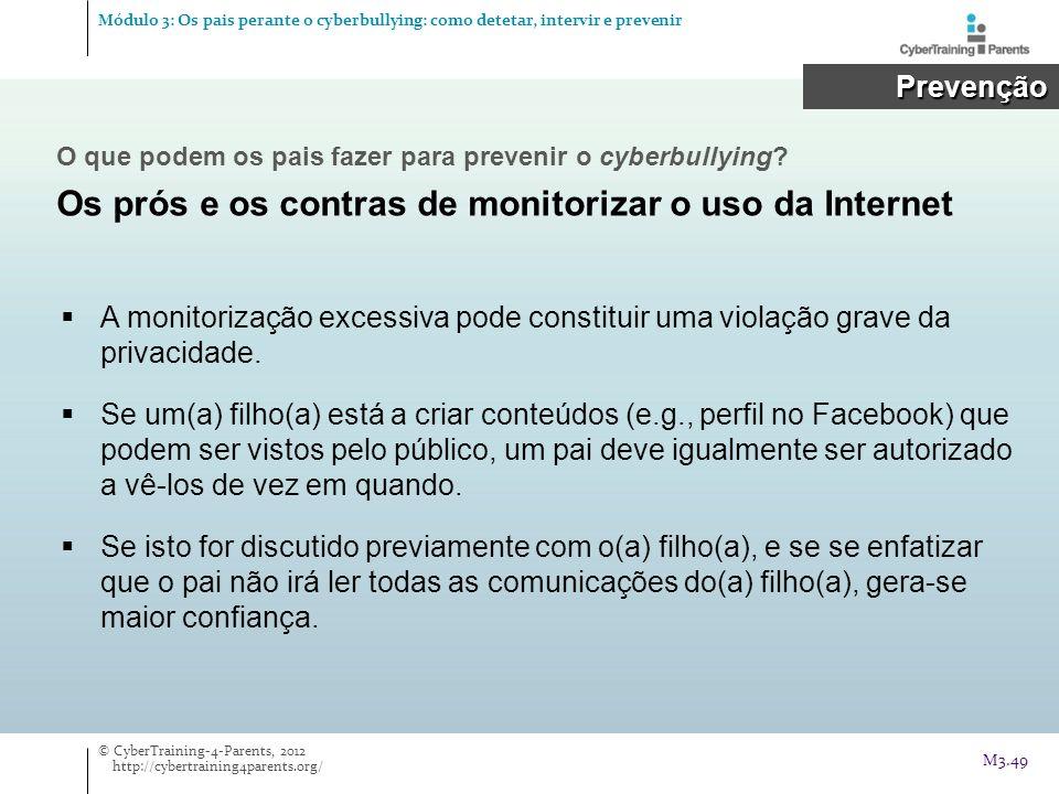 A monitorização excessiva pode constituir uma violação grave da privacidade. Se um(a) filho(a) está a criar conteúdos (e.g., perfil no Facebook) que p