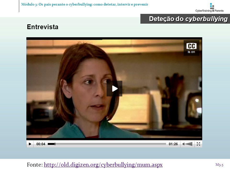 Manuais sobre segurança na Internet Exemplos de Portugal Intervenção Intervenção © CyberTraining-4-Parents, 2012 http://cybertraining4parents.org/ M3.36 Módulo 3: Os pais perante o cyberbullying: como detetar, intervir e prevenir http://www.seguranet.pt/repositorymodule/c ollection_view/id/245/ http://www.iacrianca.pt/espaco- crianca/livro_pdf_criancas_seguras_na_ web/index.html