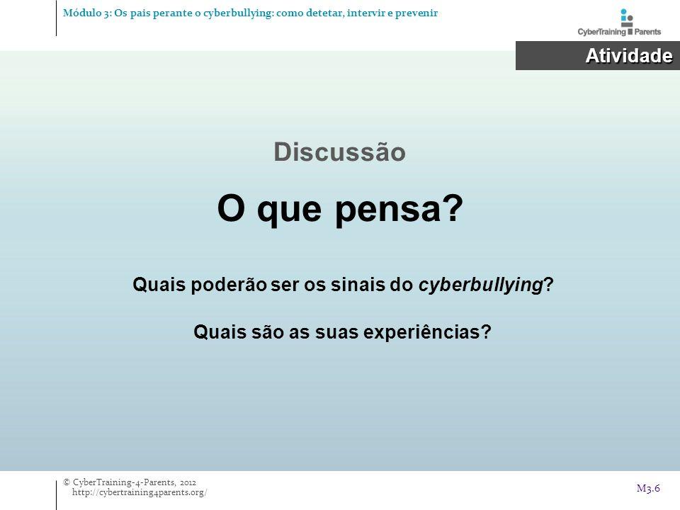 Quais poderão ser os sinais do cyberbullying? Quais são as suas experiências? Discussão O que pensa? Atividade Atividade © CyberTraining-4-Parents, 20