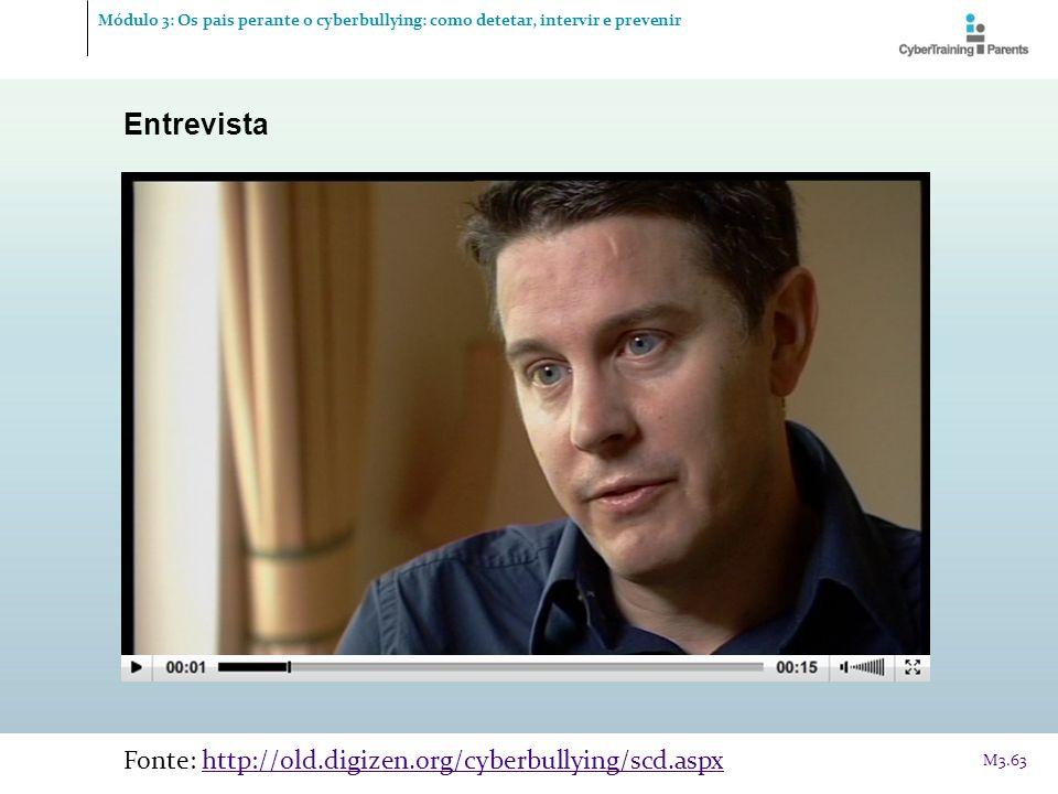 Entrevista Fonte: http://old.digizen.org/cyberbullying/scd.aspxhttp://old.digizen.org/cyberbullying/scd.aspx M3.63 Módulo 3: Os pais perante o cyberbu