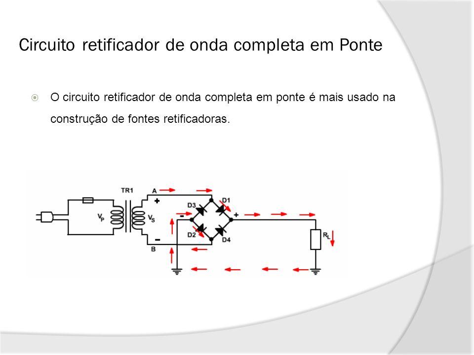 Circuito retificador de onda completa em Ponte O circuito retificador de onda completa em ponte é mais usado na construção de fontes retificadoras.