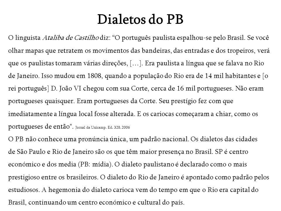 Dialetos do PB O linguista Ataliba de Castilho diz: O português paulista espalhou-se pelo Brasil. Se você olhar mapas que retratem os movimentos das b